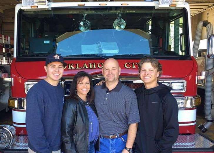 Chris Fields and his family Ok. city firefighter that carried Kaylee from the OK. city bombing site in the famous picture that became iconic and always connected to the bombing of the Alfred P. Murrah Federal government building that was bombed by Timothy McVeigh. April 19, 1995. Causing 168 people to died, including 19 children. Retired march 29, 2017 Firefighter Chris Fields and his family.