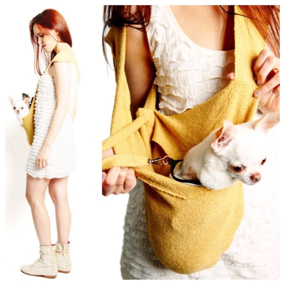 Pet travel bag soft yellow scarf sling carrier small dog tote by HeartPup
