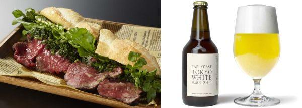左:BLT STEAK ROPPONGI の「ステーキサンド」  右:日本クラフトビールの「東京ホワイト」
