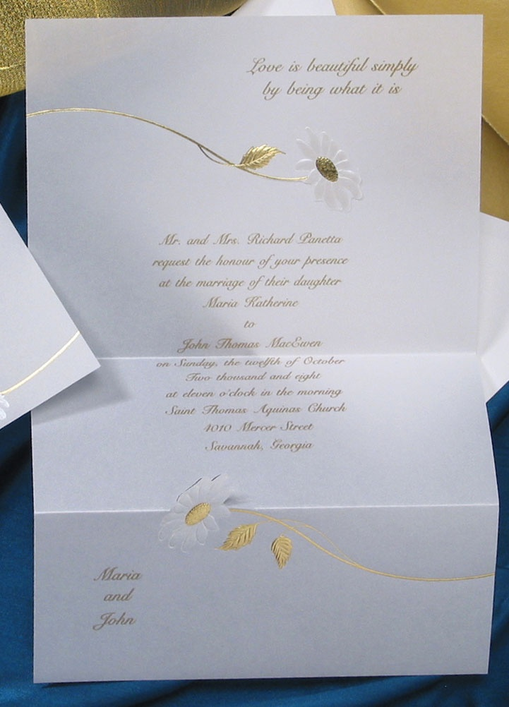 wedding invitation quote in english%0A Two white pearl daisies adorn this invitation featuring your names and  favorite quote  Your love