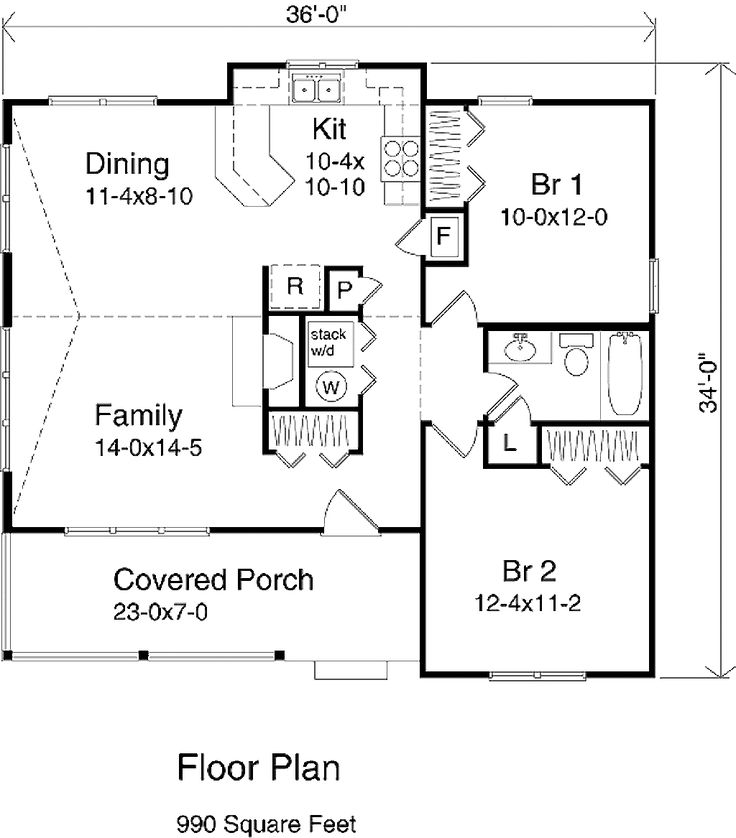 Country style house plan 2 beds 1 baths 990 sq ft plan for Country style floor plans