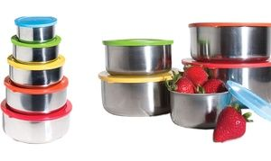 Brighten up your kitchen storage with stainless steel bowls in rainbow colours; use as serving dishes or for storing dry food items