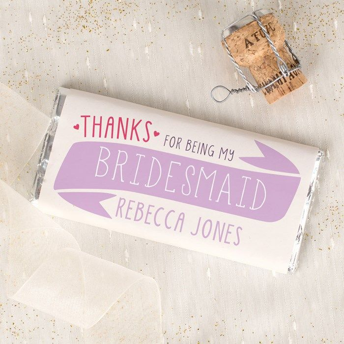 Personalised Chocolate Bar - Thanks For Being My Bridesmaid | Bridesmaid Gifts | Pinterest | Personalized chocolate, Bridesmaid mug and Personalized wedding ...