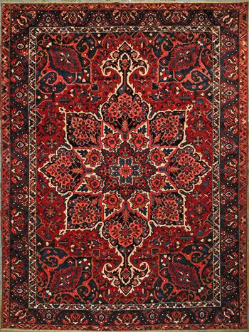 "Bakhtiari Persian Rug, Buy Handmade Bakhtiari Persian Rug 10' 2"" x 13' 5"", Authentic Persian Rug"