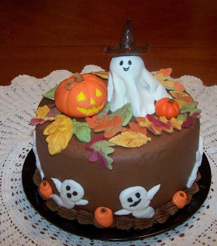 ghost and jack o lantern halloween cake - Halloween Cake Decorating