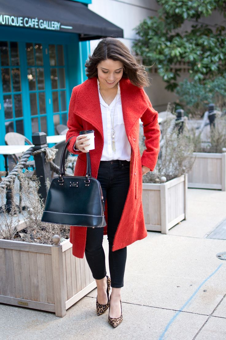Bright Orange Coat Winter Office Outfit