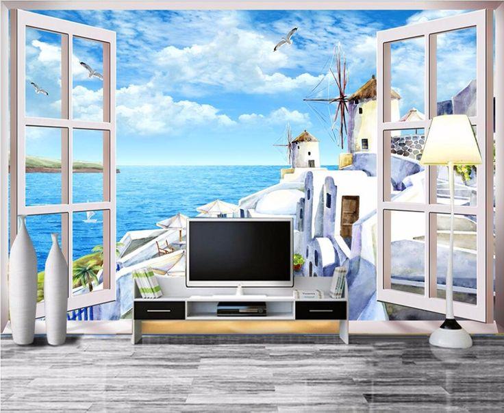 3d wallpaper custom photo White castle Windows sea view Mediterranean painting 3d wall room murals wallpaper for walls 3 d #Affiliate