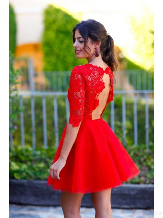 Sexy Red Lace Prom Dress, Long Sleeves Open