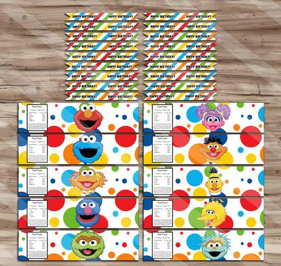 Sesame Street Party Supplies, Sesame Street Water Bottle Wraps & Sesame Street Drink Flags - JPG Digital Files, INSTANT DOWNLOAD
