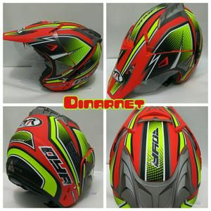 Helm Semi Cross Double Visor SNI Semi Trail Trabas Motocross Klx Twenty Red Dof Yellow Stabilo
