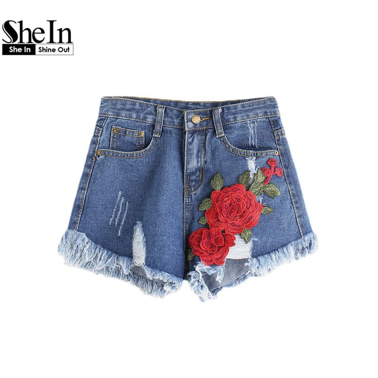 Find More Shorts Information about SheIn Jean Shorts Women Summer Women's Casual Shorts Mid Waist Zipper Fly Ripped Appliques Frayed Hem Denim Shorts,High Quality jeans shorts women,China denim shorts Suppliers, Cheap jeans shorts from SheIn Official Store on Aliexpress.com