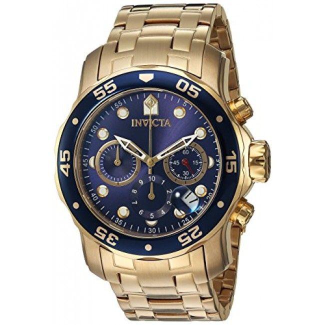 f9884b5ea17 Relógio masculino Invicta 0073 Pro Diver Banhado a ouro 18 k fundo azul  Relogios Masculinos Ouro