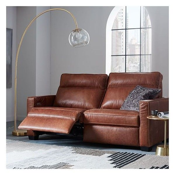 West Elm Henry(R) Leather Power Recliner Sofa, Tobacco ($2,999) ❤ liked on Polyvore featuring home, furniture, sofas, brown, leather button sofa, leather reclining sofa, leather power reclining sofa, button sofa and brown leather reclining sofa