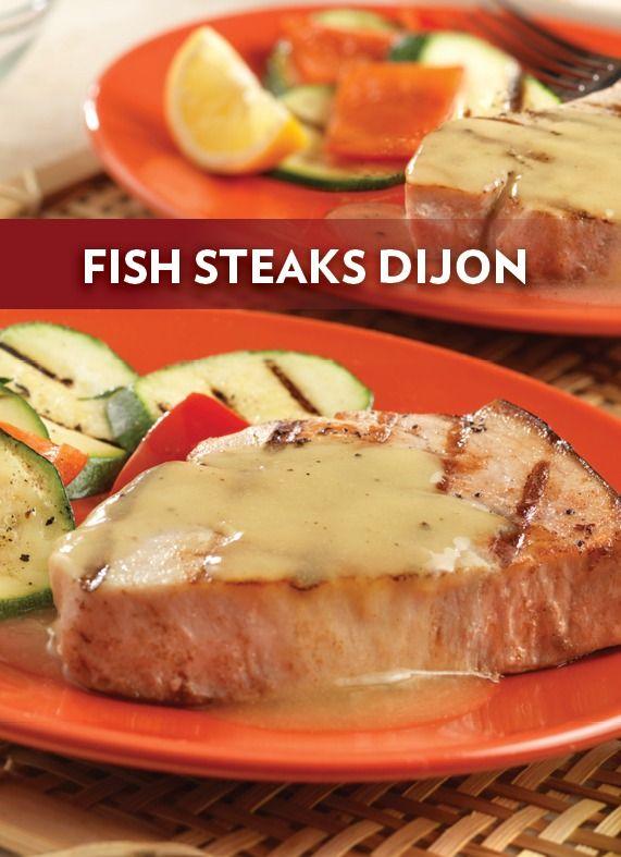 Fish steaks dijon swordfish steak steak and mustard for Fish steak recipe