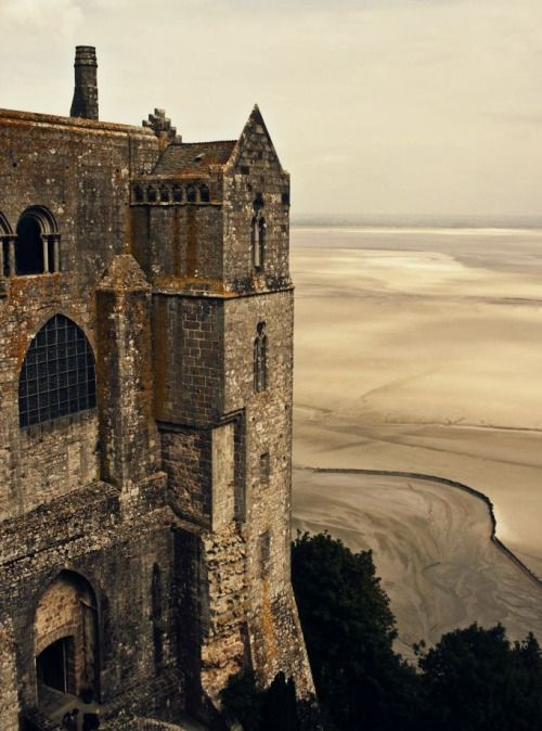 Mont St Michel and it's tidewaters. Normandy, France.