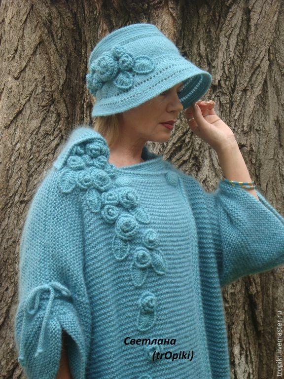 """Купить """"Водопад из роз""""авторское вязаное пальто - голубой, пальто женское…"""
