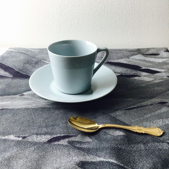 Beautiful vintage Arabia Finland light blue ceramic coffee cup