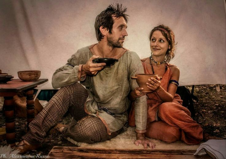 me and my gf as a celtic man and etruscan woman (3rd century b.C.) in a picture by alessandra russo