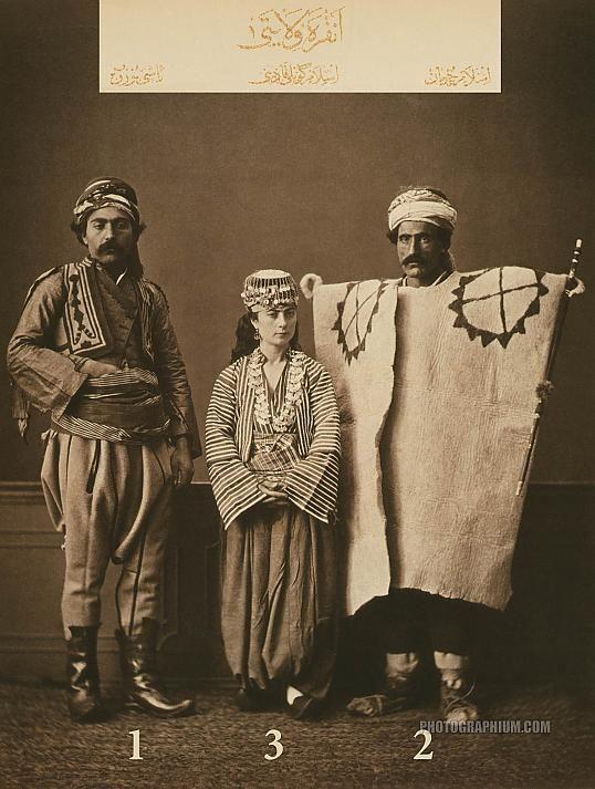 Clothing from province of Ankara, Ottoman State. 1-Bashi-bazouk (mercenary soldier) of Ankara, 2-Muslim shepherd from Ankara, 3-Muslim peasant woman from Ankara. Istanbul, 1873