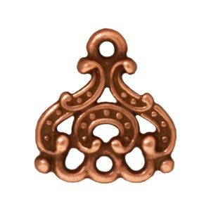 """Cost-effective plated connector links with ornate """"Empress"""" design. Real Copper plating with an antiqued finish. Ideal for hanging dangles, pearls, beads etc. Measurements: 14.5mm Long Incl. Loop, 13mm Wide, 1.3mm Thick, 1.6mm Holes.  TierraCast Pewter is made in the USA, using Lead Free Pewter that exceeds both the CPSC standard and the new California law regulating children's jewelry content. Although all pewter contains trace amounts of lead, the term """"lead free pewter&q..."""