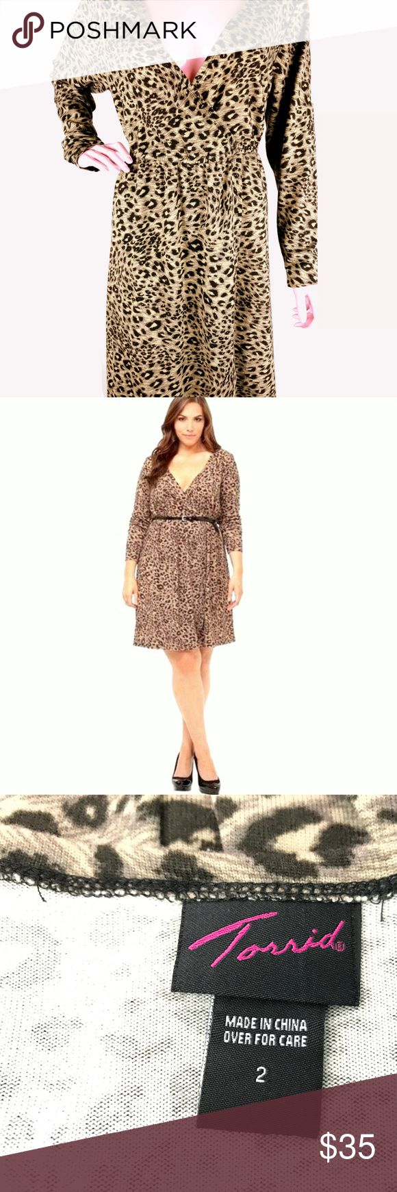 "TORRID Cheetah Animal Print Long Sleeve Knit Dress TORRID Cheetah Animal Print Long Sleeve Knit Soft Dress  Size: 2  Measurements Bust:50"" Waist: up to 53"" Length: 41""  95% Poly, 5% spandex  Please see all photos of the actual item you will receive. Please take into consideration when looking at the pictures of the actual item you will receive, as it is a larger size item on a small size mannequin. Torrid Dresses Long Sleeve"
