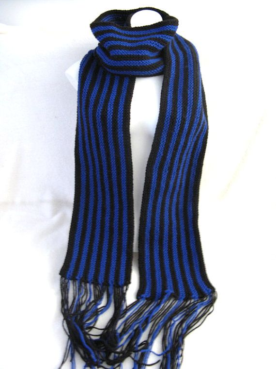 Blue Striped Scarf Handknitted Acrylic Scarf Hand by MouseGarden