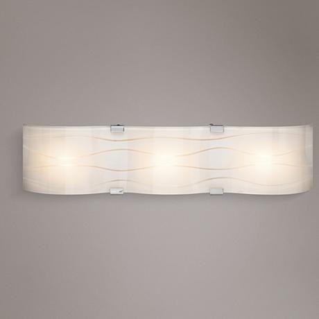 Elan Undulla 26 Wide 3 Light Wheel Cut Glass Bath Light Mid Century