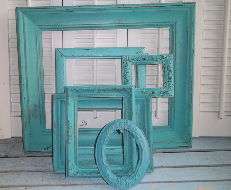 TERQUOISE SEASIDE COTTAGE PICTURE FRAMES UPCYCLED. $39.99, via Etsy.
