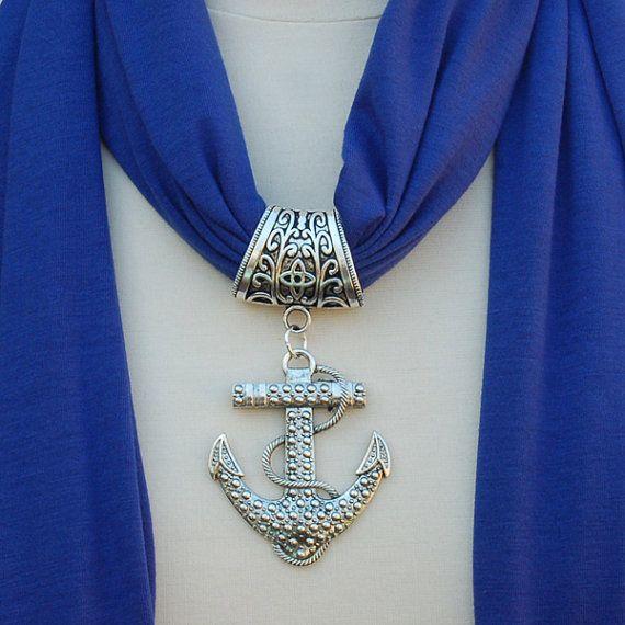 Colgante bufanda de ancla de plata de la bufanda