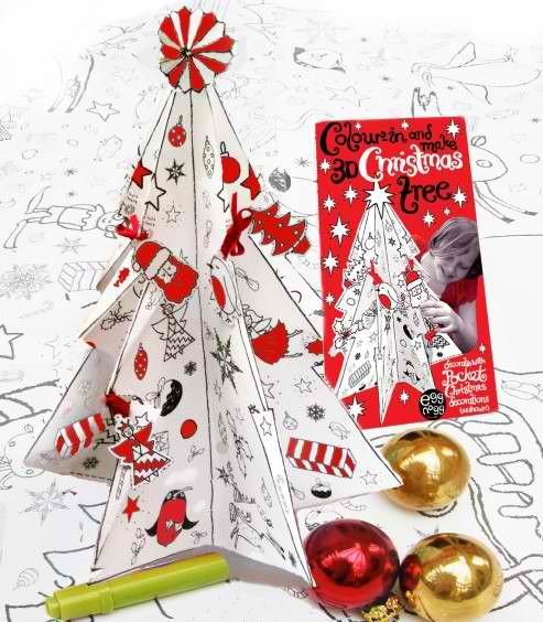 Eggnogg Colour-in 3D Christmas Tree $19.95  www.pennyfarthingkids.com.au #pennyfarthingkids #kids #babies #craft #fun #parties #eggnogg