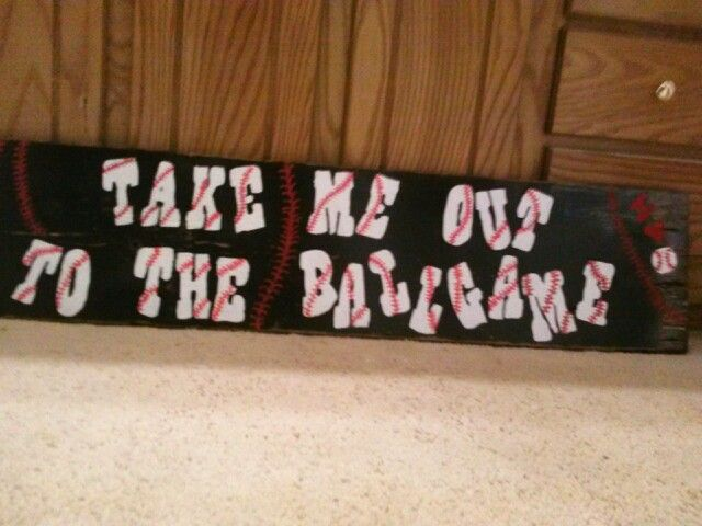 Wooden sign i made for my son's baseball parade float