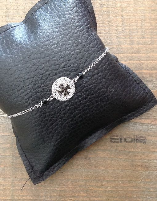 Bracciale in argento con #croce di #malta nera in vendita sullo shop etoilegioielli.com a € 78,00