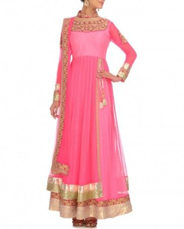Neon Pink Anarkali Suit with Bejeweled Yoke- Buy Suits,Summer Bride Online   Exclusively.in