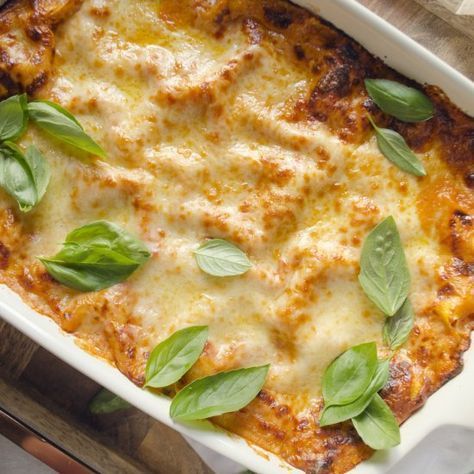 Cheesy and decadent classic Italian lasagna with bechamel sauce