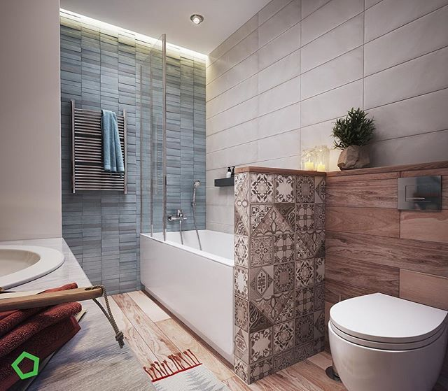What really makes this beautiful little bathroom so special is the mix of textures and materials chosen for the walls and floor. From stone to tiles and wood to plaster, Polygon Architecture & Design definitely got it right. Head to homify.com to design your dream bathroom.  #house #home #interiordesign #interiordecor #homedesign #homedecor #bathroomideas #cosystyle #modernbathroom #moderndesign #designinspiration #designinspo #bathroominspo #scandinavian #instagood #instadaily