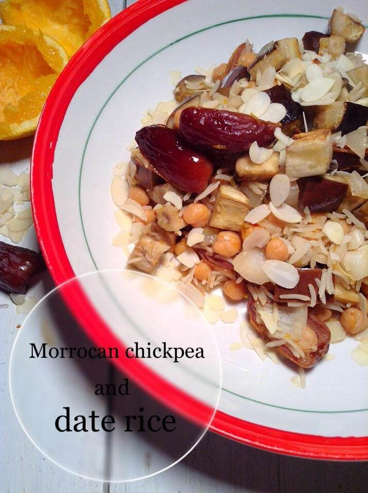 MORROCAN CHICKPEAN AND DATE RICE This Morrocan chickpea and date rice is a easy, one pot dish with beautiful exotic flavor, it is sweet, savory, packed with beautiful exotic fragrance from the spices, healthy, and gluten free.
