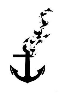 Anchor / Bird, Tattoo Flash. With a few alterations this would make a wonderful memorial tattoo for my Grandfather.