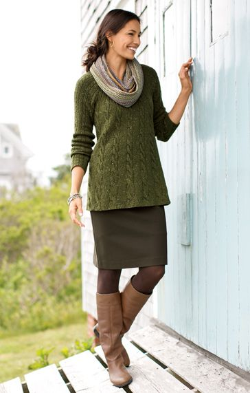 I like this look; esp the green sweater and grey skirt