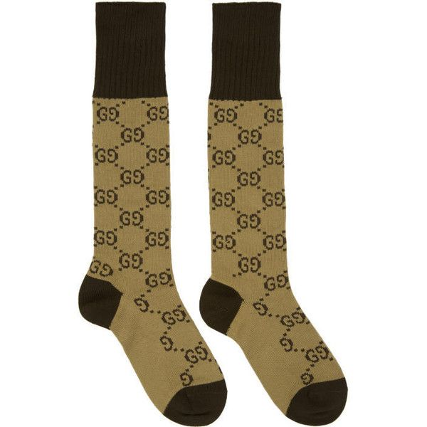 Gucci Beige and Black Long GG Socks (€76) ❤ liked on Polyvore featuring men's fashion, men's clothing, men's socks, beige, mens knee length socks, mens long socks and mens knee high socks