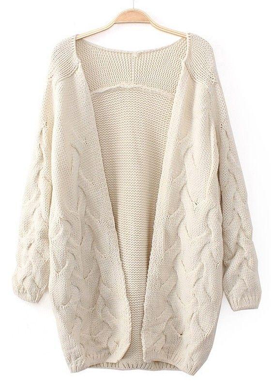 Beige Plain Long Sleeve Cardigan