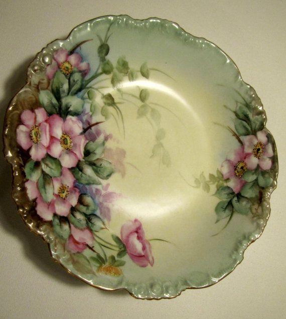 Antique Pouyat Limoges Hand Painted Porcelain Bowl Floral 1890's