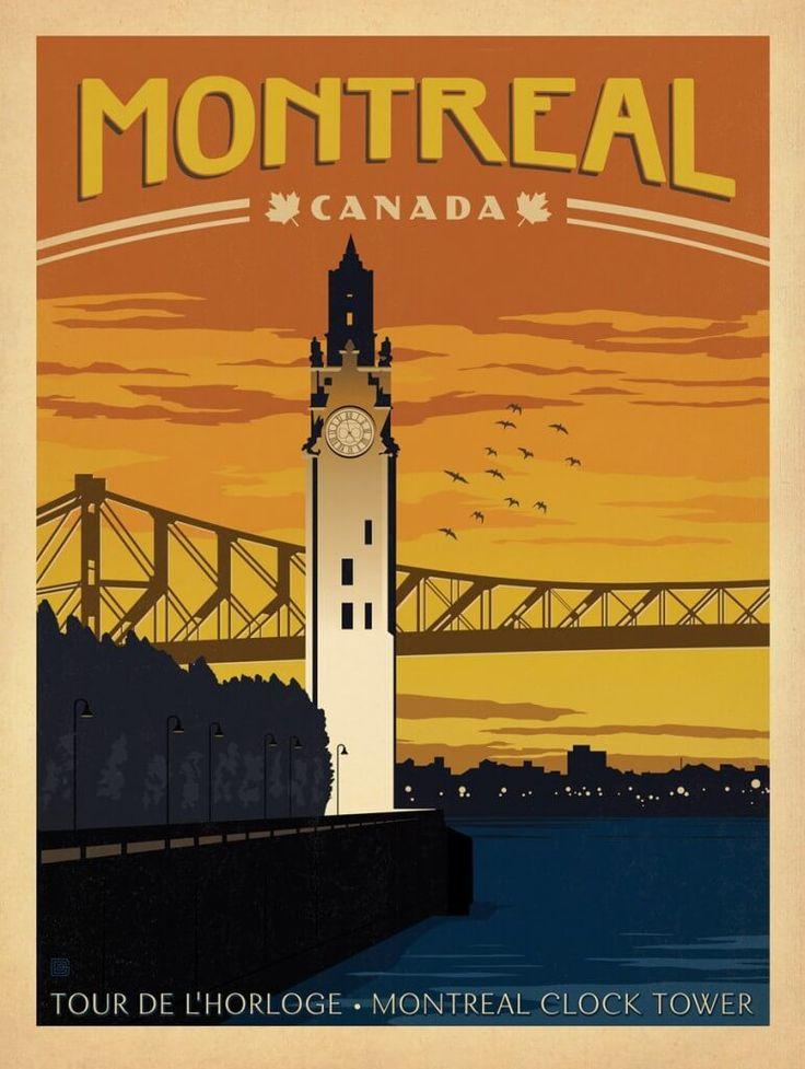Montreal, Canada clock tower poster