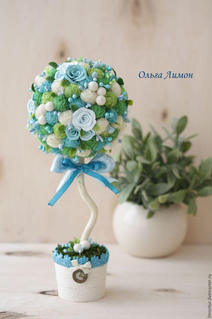 """Купить Топиарий """"Небо"""" - голубой, бирюзовый, небесный, подарок, 8 марта, подарок на 8 марта"""