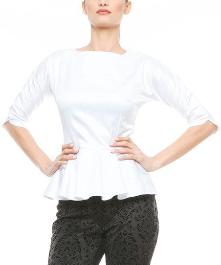 Lisa Moretti White Peplum Top | zulily