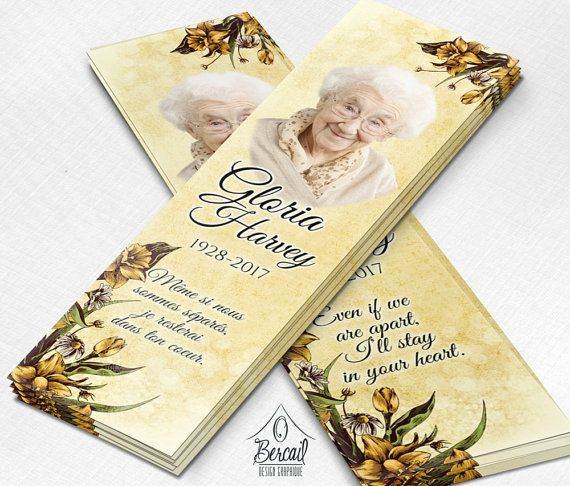 Memorial Bookmark for Grandma with Daffodil Flowers • Bookmark for Non Religious Funeral • Celebration of Life Obituary Bookmark Online • OBercailDesign