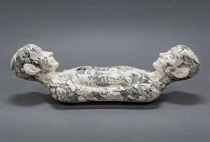Richard Stipl & Josef Zlamal, Untitled, 2016, 68x23x22cm, ink on wood