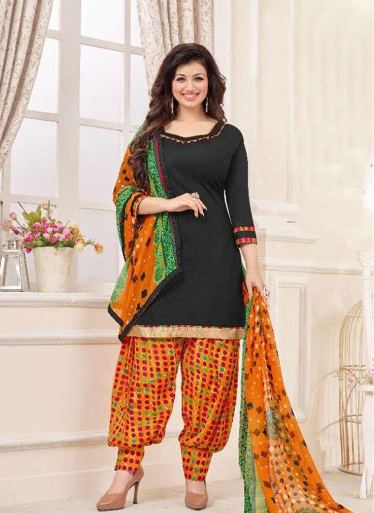 Grandiose Black Cotton   Patiala Suit