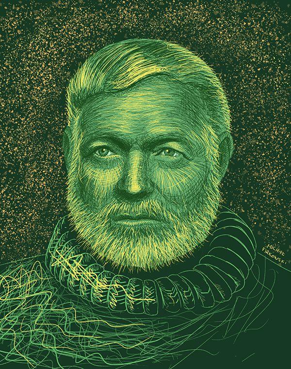 Ernest Hemingway - illustration portrait, digital drawing, art