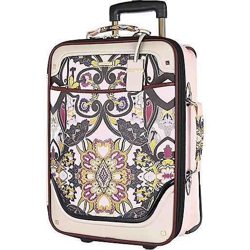 Valise à roulettes imprimé foulard rose - Trousses à maquillage/bagages - maroquinerie - femme