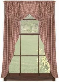 """Checker Berry Prairie Curtains by Primitive Home Decors. $59.95. 100% Cotton Fabric. Window Treatments are Fully Lined for Durability. Checker Berry Prairie Curtains 72"""" Wide x 63"""" Long Checkberry window treatments are 100% cotton and fully lined. The prairie curtains have a 2"""" header and rod pocket. Machine wash, gentle cycle. The Checker Berry collection from IHF"""